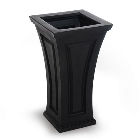black planters mayne cambridge 16 in square black plastic column planter