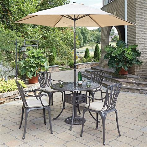 5 patio set with umbrella home styles taupe 5 patio dining set with
