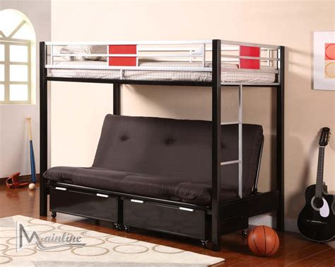 study bunk bed frame with futon chair loft bed with futon student loft bed frame bunk beds for