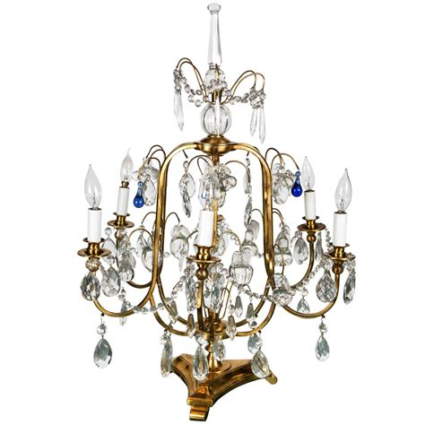 cobalt blue chandelier bronze and table chandelier with cobalt blue teardrops at 1stdibs