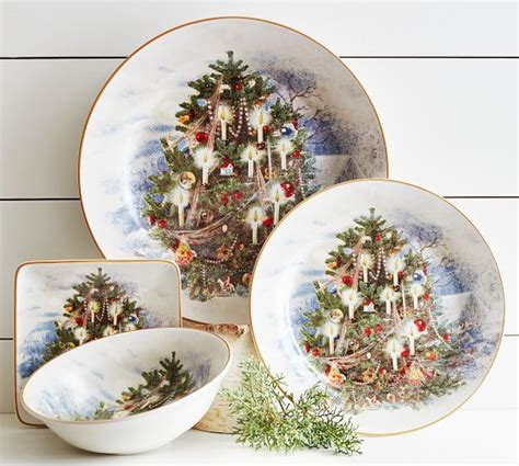 tree dinner plates nostalgic tree dinner plate set of 4 pottery barn