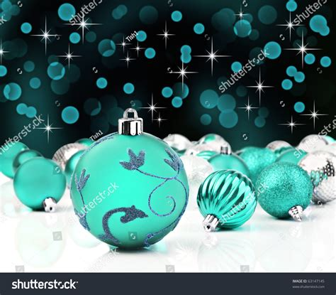 turquoise baubles turquoise baubles on background stock photo