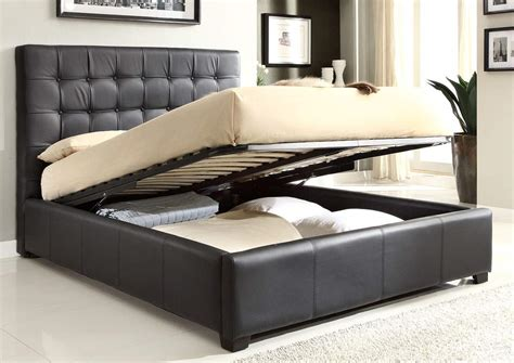 storage beds for stylish leather high end platform bed with storage