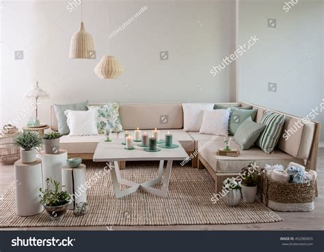 modern sofa pillows modern corner sofa interior pillow style stock photo