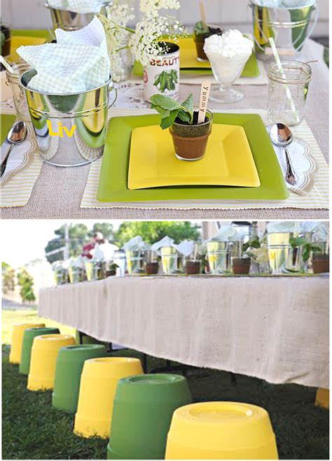 Green And Yellow Table Decorations by Fresh Garden Party Garden Theme Gardens And Kids