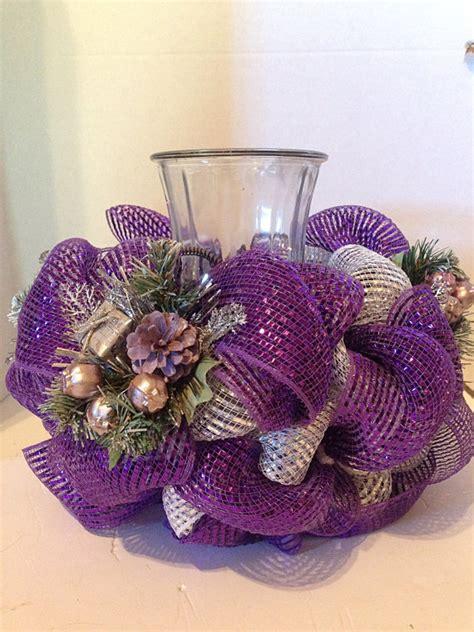 decorations with deco mesh centerpiece deco mesh centerpiece purple