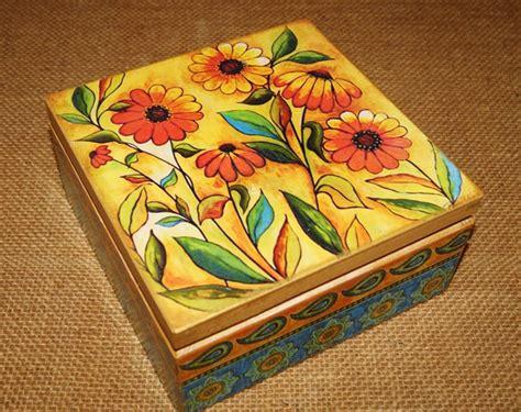 decoupage tea box decorative box for tea wood decorated with decoupage