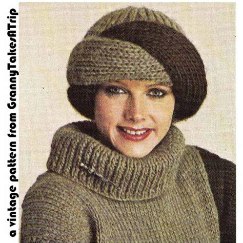 how to knit a turban hat 1970s 80s vintage knitting pattern turban style hat