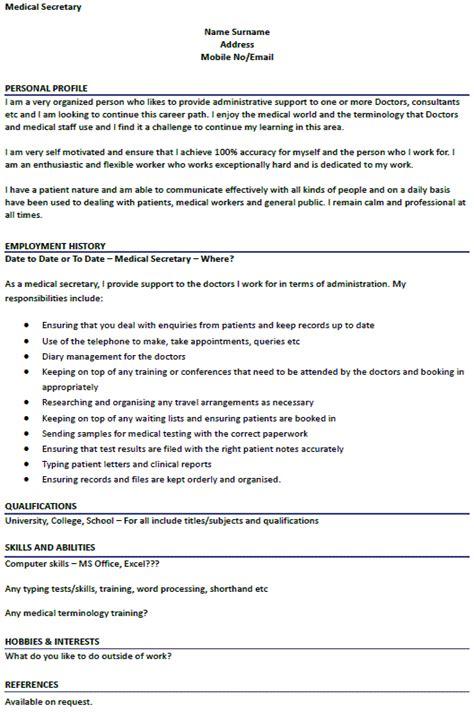 medical secretary cv example icover org uk