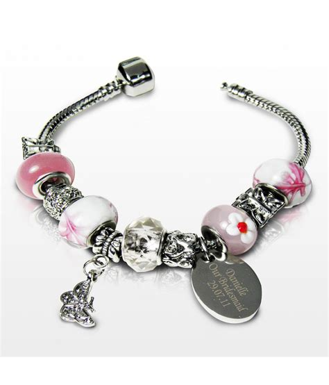 charms jewelry personalised charm bracelet sweet pink 18cm just for