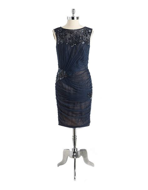 navy beaded dress tadashi shoji beaded mesh cocktail dress in blue navy lyst