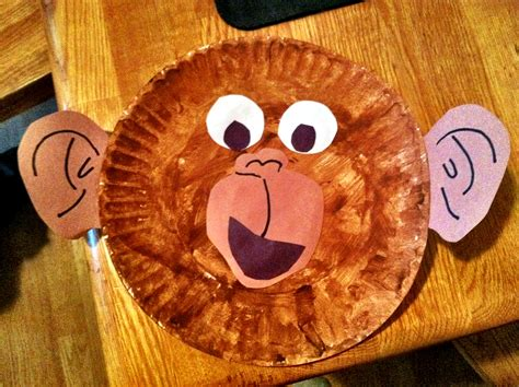 monkey paper plate craft from to toe free printables and crafts