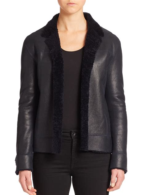 leather and shearling jacket helmut lang leather shearling jacket in blue lyst