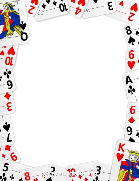 printable playing card border use the border in microsoft