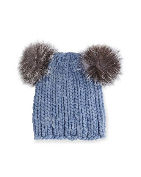pom pom knit hat eugenia mimi knit hat with fur pom poms in blue save