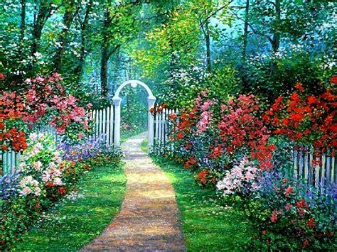 secret garden flowers secret garden trees path archway flowers