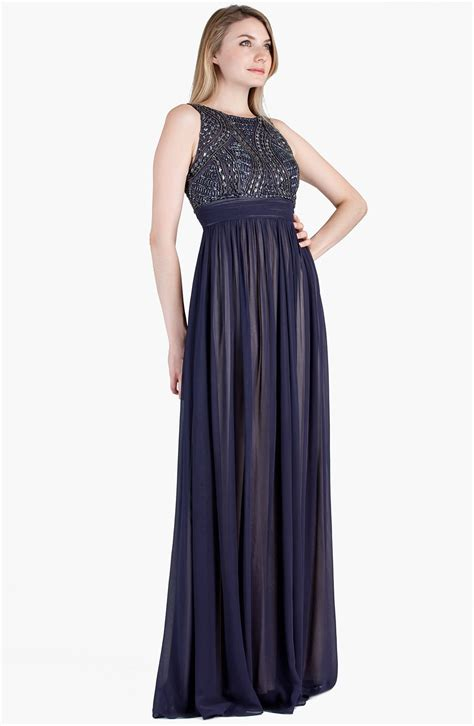 Js Collections Beaded Bodice Chiffon Gown In Blue Steel