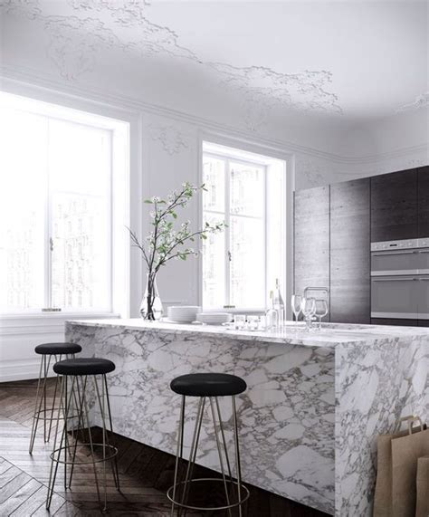 parisian kitchen design 32 trendy and chic waterfall countertop ideas digsdigs