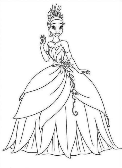 12 coloring pages of princess tiana print color craft