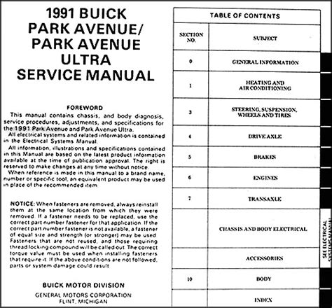 service manual motor auto repair manual 1991 buick park avenue transmission control service
