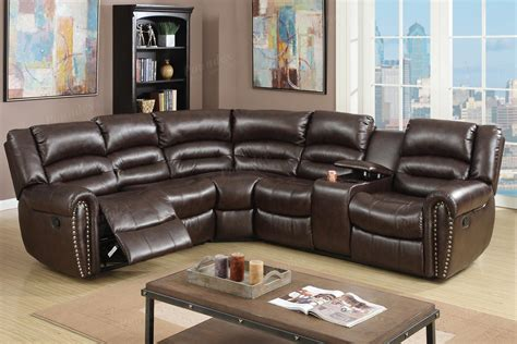 Havertys Bedroom Furniture 3 pcs reclining sectional brown leather sofa set