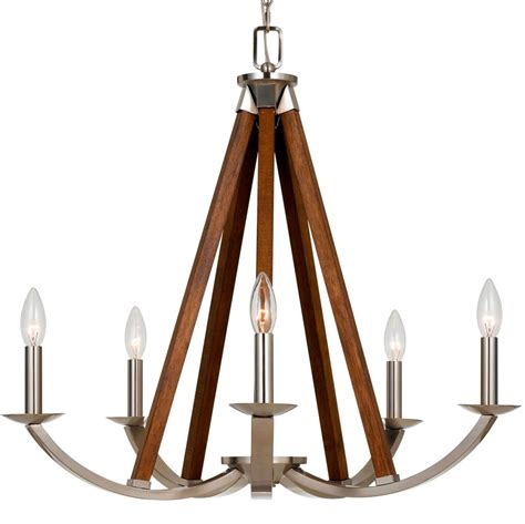 brushed steel nickel wood chandelier 24 quot l shade pro