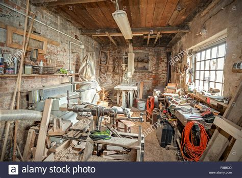 the history of woodworking traditional carpenter workshop interior stock photo