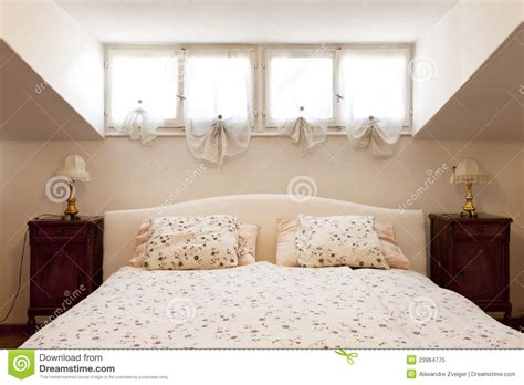 small loft furnished bedroom royalty free stock photo