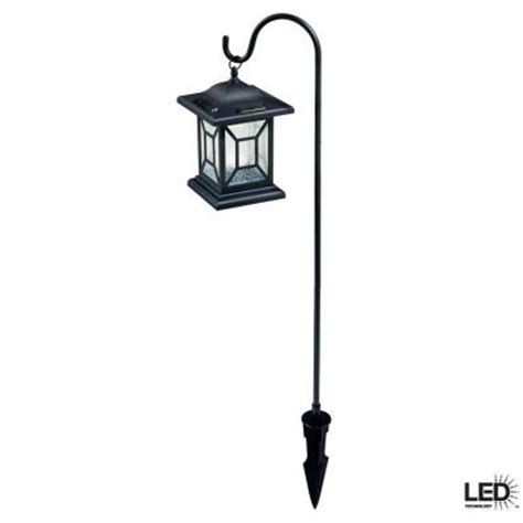 landscape lights home depot hton bay black solar led outdoor lantern 2