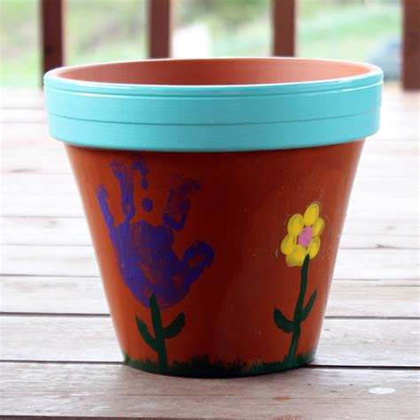 flower pot kid craft handprint s day bouquet allfreekidscrafts