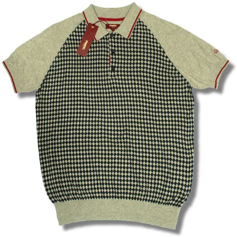 knitted shirt merc mod retro 60 s check tipped knit polo