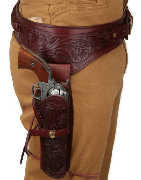 leather gun belt and holster 44 45 cal western gun belt and holster rh draw wine colored tooled leather