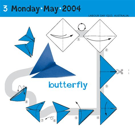 origami calendar how to fold a butterfly may 3