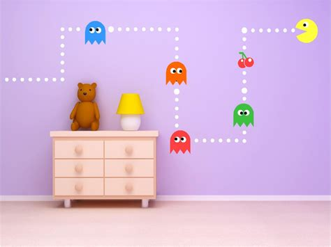 Oversized Wall Stickers pac man classic game kids vinyl wall art stickers custom