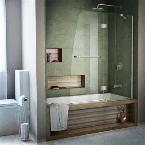 install shower doors on tub dreamline aqua 48 in x 58 in semi framed pivot tub