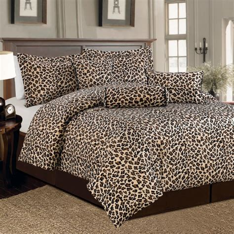leopard print king comforter set 7 pc brown and beige leopard print faux fur king size