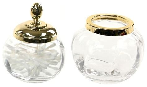 clear glass bathroom accessories gold 2 accessory set of clear glass contemporary