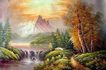 bob ross paintings museum evergreens at sunset style of bob ross painting in for