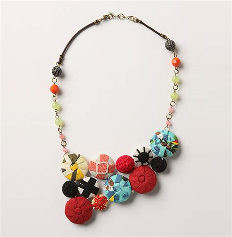 cloth bead necklace fabric buttons necklace lushlee