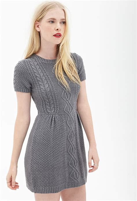 knit dress forever 21 cable knit sweater dress in gray lyst