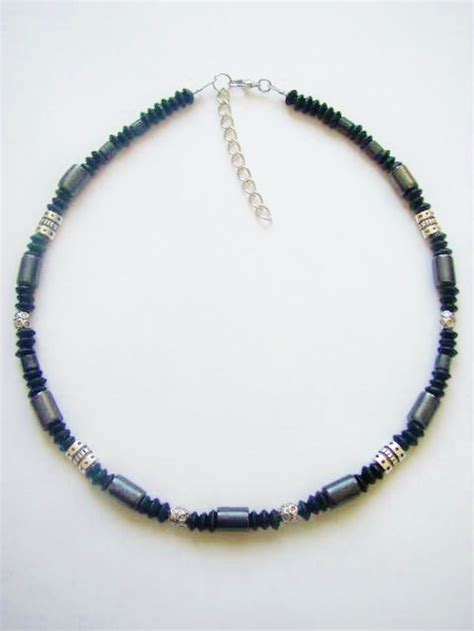 beaded choker necklace black hematite s surfer style beaded necklace