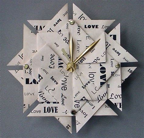 1st Anniversary Gift Origami Clock Large