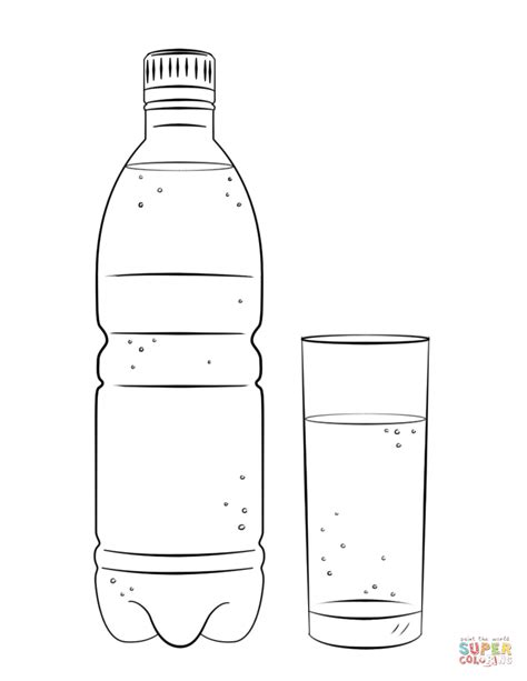 how to color water water bottle and glass coloring page free printable