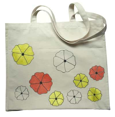 acrylic paint on a canvas bag painted canvas bag