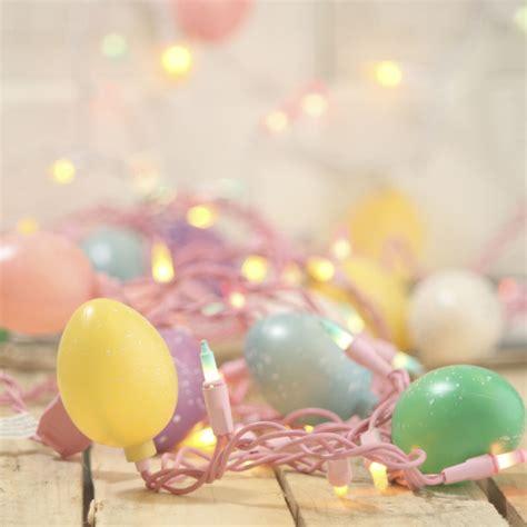 pastel easter lights speckled easter egg and pastel bulb cord string lights