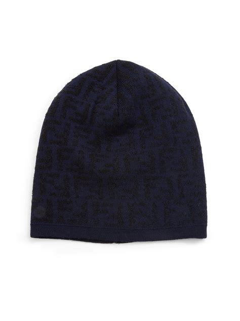 Fendi Wool Blend Knit Hat In Blue For Lyst
