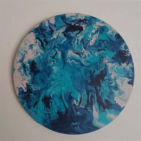 acrylic paint effects on canvas circle canvas acrylic marble effect painting aqua metallic