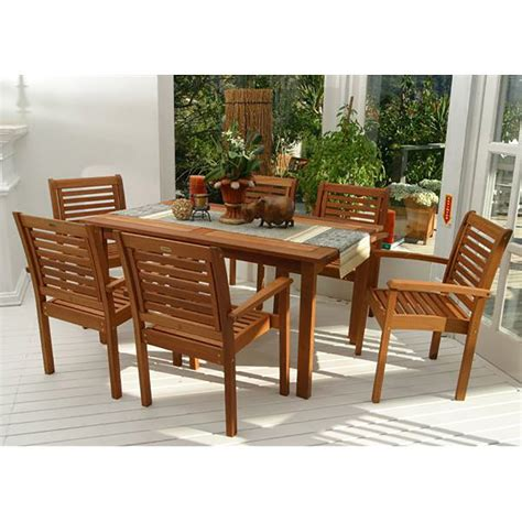 patio 7 dining set shop international home amazonia 7 brown eucalyptus