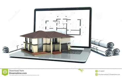 Blueprint Sketch laptop and drawings with house project 3d stock