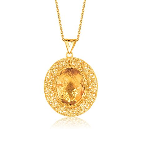 charms and pendants for jewelry oval citrine lace pendant in 14k yellow gold richard